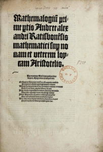 Andreas Alexander, Mathemalogium prime partis (Leipzig, 1504)