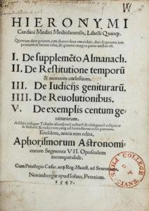 Cardano, Girolamo, Libelli Quinque, title page