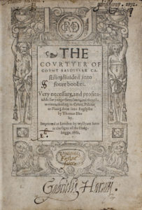 Castiglione, Il cortegiano (1541), title page