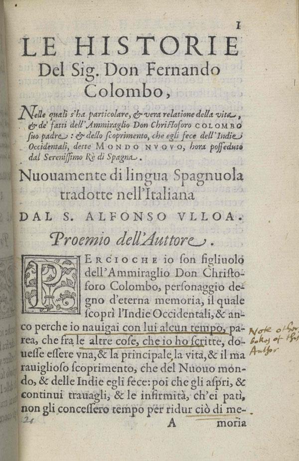 Fernando Colon, Historie del S.D. Fernando Colombo, title page