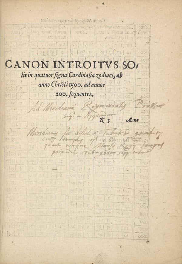 Paulus Crusius, Doctrina revolutionum Solis, K3r