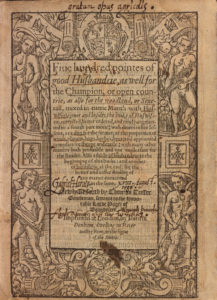 Thomas Tusser, Pointes of good husbandrie (London, 1580) title page