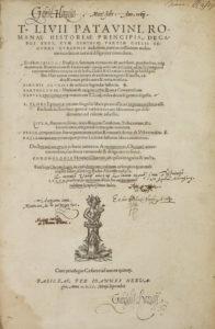 Titus Livius, Romanae historiae principis (Basel, 1555) title page