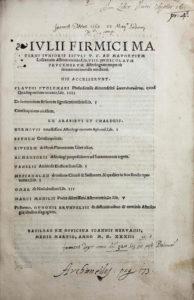 Julius Firmicus Maternus, Astronomicon, title page