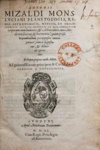 Mizauld, Antoine. Planetologia, title page