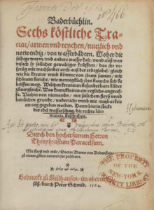 Paracelsus, Baderbuchlin (1562) title page