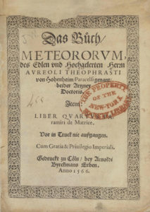 Paracelsus, Das buch meteorvm, (1566), title page