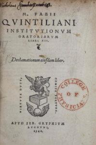 Quintilian, Institutionum oratoriarum (1540) title page