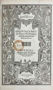 Thomas Walsingham, Historia brevis (1574) title page